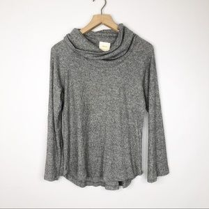 Anthropologie Maeve Gray Cowl Neck Top